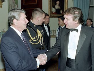 "President Reagan shaking hands with Donald Trump at a Reception for members of the ""Friends of Art and Preservation in Embassies"" Foundation in the Blue room. 11/3/87 (reaganlibrary.archives.gov)"